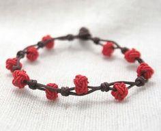 Chinese knot fiber friendship bracelet macrame rope bracelet red string(Rose buds)