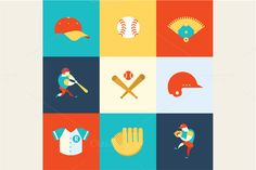 Baceball icons by vectorprro on Creative Market