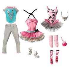 """Barbie Fashion Trend - Ballet Dancer"" set includes 3 ballet-inspired outfits to mix & match! 
