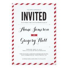 Red Carnival Stripes Modern Wedding Invitation