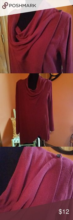 Maroon Sweater wrap Sweater wrap that buttons up on each side The Limited Tops