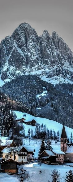 Funes in winter, Italy