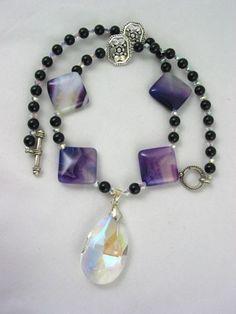 Handmade Purple Amethyst Bead Teardrop Clear Crystal Pendant Necklace