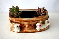 Vintage Pixie and Rabbit planter, so kitschy and cool!