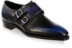 Corthay Leather Almond Toe Monk Strap