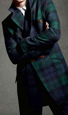 Mens Black Watch Tartan Wool Coat. Men's Fall Winter Fashion.