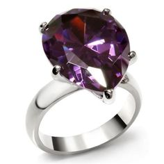 Women Stainless Steel Pear Amethyst AAA Cubic Zirconia Engagement Ring Jewelry #Engagement