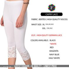 Leggings & Tights  Fabulous Women's Legging Fabric: Vertex Waist Size: XL- 26 in To 30 in  XXL - 32 in To 34 in Length: Up To 34 in Type: Stitched Description: It Has 1 Piece Of Women's Trouser  Work:  Capri Lace Work Country of Origin: India Sizes Available: XL, XXL *Proof of Safe Delivery! Click to know on Safety Standards of Delivery Partners- https://ltl.sh/y_nZrAV3  Catalog Rating: ★4.2 (4835)  Catalog Name: Alexandra Fabulous Vertex Womens Leggings Vol 1 CatalogID_121886 C79-SC1035 Code: 422-1012548-