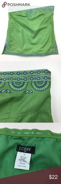 """J. Crew Embroidered Geometric Strapless Top // 12 Cute J. Crew strapless top. Spring green with blue and white embroidery and Sequin accents. Side zipper. Lined. Very good condition. Shell 55% linen 45% cotton. Size 12. 20"""" long. 19"""" underarm to underarm. J. Crew Factory Tops"""