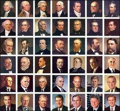 Photos of Presidents from George Washington to George W. Bush.