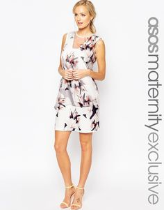 b045a5f18a4d ASOS Maternity SALON Shift Dress With Organza Overlay In Floral Print  Sovrapposizioni