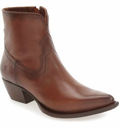 Need these boots (apparently super comfortable) - Frye 'Shane' Western Bootie in whisky leather
