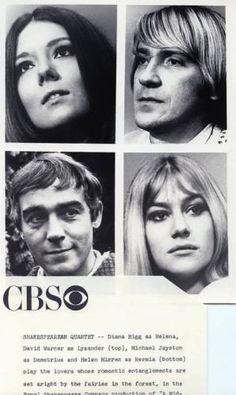 DIANA-RIGG-DAVID-WARNER-HELEN-MIRREN-1969-CBS-TV-PHOTO