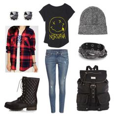 Grunge plaid band tee jeans