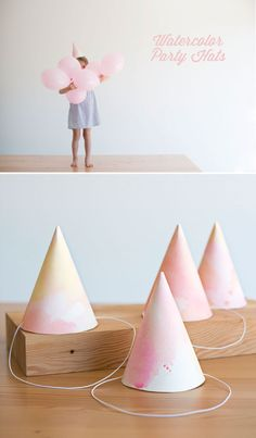 Watercolor Party Hats DIY by Oh Happy Day! Every day is a party in the summer! Diy Party Hats, Party Gifts, Kunst Party, Diy Birthday Decorations, Diy Hat, Art Party, Party Fun, Childrens Party, Party Time