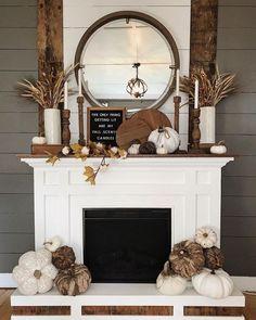 Fall Fireplace Decor, Fall Decor For Mantel, Fireplace Decorations, Mantle Decorating, Seasonal Decor, Fall Decor Lanterns, Decorating Ideas For Fall, Mantal Decor, Rustic Mantle Decor