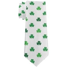 St Patricks Day Shamrock White All Over Neck Tie