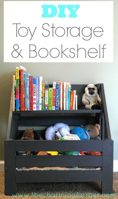 This super cute DIY toy storage and bookshelf project is the perfect addition for any super cute kid's room!