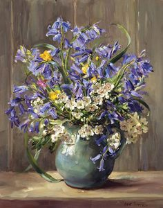 Bluebells and May Blossom - Signed Print | Mill House Fine Art – Publishers of Anne Cotterill Flower Art