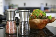 Buy the Kitchen Classique Stainless Steel Salt and Pepper Grinder Set - Salt & Pepper Mill Pair - Glass Body Salt and Pepper Shakers securely online at charingskitchen.com today.