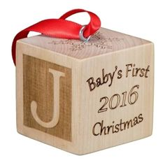 Baby's First Christmas Ornament Wooden Block