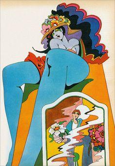 John Alcorn illustration for Redbook, 1969 is psychedelic Retro Kunst, Retro Art, Kunst Inspo, Art Inspo, Hippie Art, Hippie Style, Art And Illustration, Photography Illustration, Book Illustrations