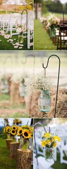 rustic outdoor wedding aisle decorations with mason jars and flowers
