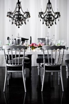 wedding tablescape, white table, succulents, apothecary jars, pink flowers, black chandelier. Repinned by #indianweddingsmag #tablescape #black #white #weddings #couples #bride #groom #brideandgroom #summerweddings #aboutindianweddings indianweddingsmag.com