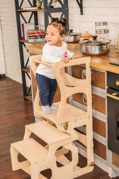 Make your kid's room special with WoodandHearts Montessori furniture! Additional website discounts are available with the codes 2TREES and INSTABONUS Kitchen Step Stool, Kitchen Stools, Baby Toys, Toddler Gym, Toddler Climbing, Kitchen Helper, Learning Tower, Wooden Steps, Furniture Care