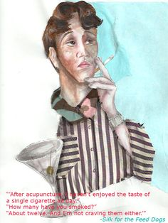 Edward smoking as the ban looms up ahead. Unique Settings, Smoking, Novels, Author, Silk, Drawings, Illustration, Dogs, Character