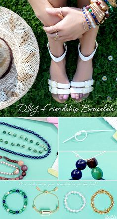 Diy Friendship Bracelets: Make these simple beaded bracelets by thrifting cute necklaces, or by cleaning out your jewelry box and re-purposing the beads.