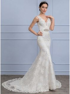 Trumpet/Mermaid V-neck Sweep Train Lace Wedding Dress With Beading