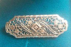 Art Deco Estate Birks White Gold Fine Diamond Filigree Flower Brooch by ArtsyMysticDesigns on Etsy Antique Jewelry, Gold Jewelry, Vintage Jewelry, Jewellery, Flower Brooch, Filigree, Decorative Boxes, My Etsy Shop, Art Deco