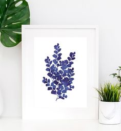 fern wall art Navy Blue Wall Art, Navy Blue Walls, Sea Glass Crafts, Colorado Homes, Gold Accessories, Watercolor Print, Ferns, Printable Art, Living Room Decor