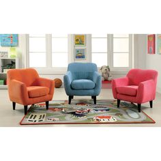 Sophisticated fun in a compact design, this upholstered chair stands out in any living room, playroom or family room. Bright coloring emanates your little one's whimsical charm while the mid-century legs and a plush foam cushion showcase an updated look.