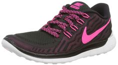 purchase cheap 4273a 47a2d NIKE Womens Free 5.0 Running Shoes Black Pink Size 8 M US