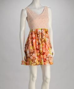 Take a look at this Peach Floral Sleeveless Dress by Paperdoll on #zulily today!