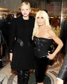 Ms. Donatella Versace at the cocktail party in a black corset top with a Swarovski encrusted jewelled cross emblem on the front with a velvet pencil skirt. Princess Charlene of Monaco wore a chic black Versace cocktail dress paired with thigh-high leather Versace runway boots with a gold capped-toe. She finished her look with a black Versace cashmere waistcoat with leather inserts.