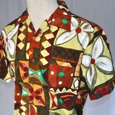 Vintage Sun-Dek Tapa Hawaiian Shirt | size Large USA Pau Press Gold Buttons Floral
