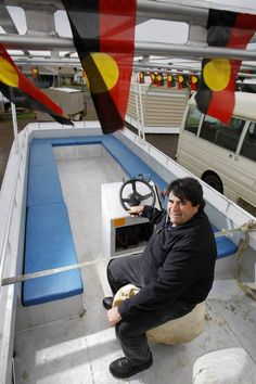 Winda-Mara CEO Michael Bell checks out the Lady of the Lake vessel, which will be used for site maintenance and tours on Lake Condah.