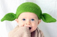 This adorably hilarious Baby Yoda Hat is the best way for geeky moms to nerdify their newborn! Handmade knit star wars hat that makes a great Halloween baby costume!