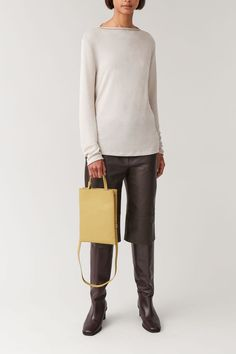 High Leather Boots, Cow Leather, Tote Bags, Leather Gifts, Leather Accessories, Mustard Yellow, Shoulder Strap, Shoe Boots, Yellow Bags