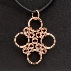 ChainMaille Copper Pendant Japanese Cross