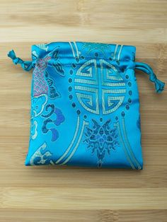 Premium Mala Bag- Turquoise Symbols & Koi Brocade