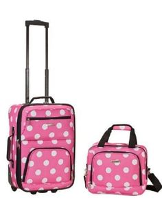 Pink Travel Luggage Set 2 PC Suitcase Wheels Upright Travel Flight Bag Polka Dot #Rockland