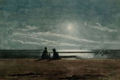 Winslow Homer (American, 1836–1910): Moonlight, 1874. Watercolor and gouache on paper. Arkell Museum, Canajoharie, New York, USA.