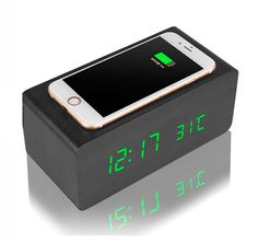 Multifunctional Wooden QI Wireless Charger, Alarm Clock and Digital Thermometer with Voice Control