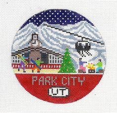 Park City Needlepoint Ornament by DoolittleStitchery on Etsy