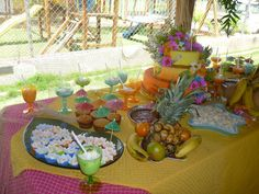 Cookies in colored cupcake holders Tropical Party idea