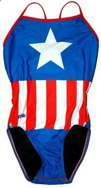 I want this Captain America swimsuit even more than the Aquaman one, though.